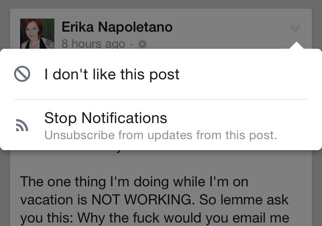 How to turn off notifications to subscribed updates on Facebook